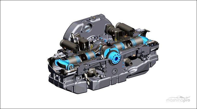 Оппозитный двигатель серии ОРОС в разрезе