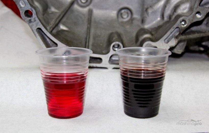 Сравнение цвета масла АКПП