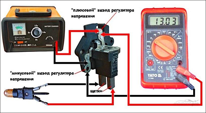 Схема проверки регулятора напряжения генератора